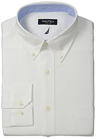 Nautica Men's Solid Oxford Button-Down Collar Dress Shirt, White, 16