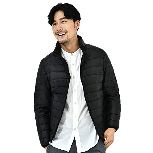 Tomatoa Men Casual Warm Down Padded Jacket, Mens Solid Stand Collar Down Jacket Zipper Warm Windproof Outwear Winter Fashion Coats Black