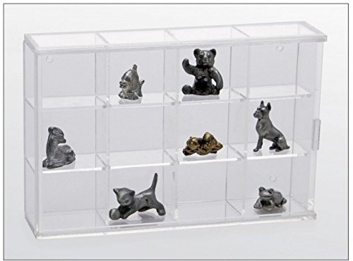 Miniature Figurine Display Case Small with 12 Compartments (Miniature Cabinet Small)