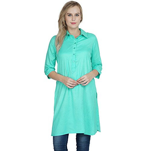 RADANYA Classic Collar Kurta Cotton Viscose A Line for Women & Girls S-5XL Teal Blue