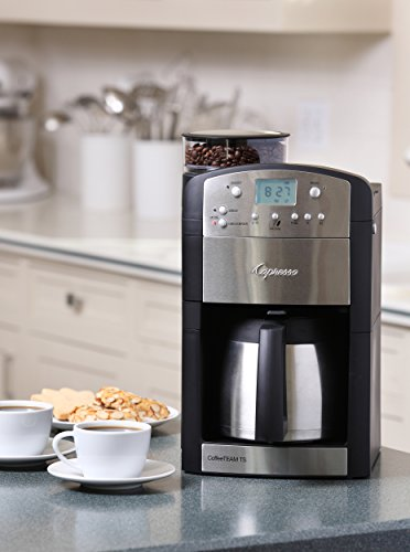 Capresso 465 CoffeeTeam TS 10-Cup Digital Coffeemaker with Conical Burr Grinder and Thermal Carafe