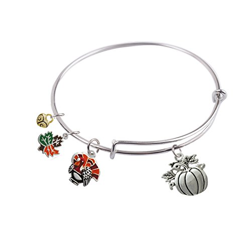65 mm, Expandable Bangle bracelet with Thanksgiving Turkey, Pumpkin, Maple Leaf and Gold Plated Small Heart Charm, Qty:1 80 Mm Pumpkins