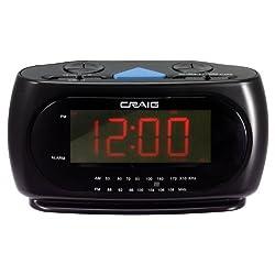Craig LED Alarm Clock with AM/FM Radio 1.2-Inch Display, Black (CR45372 )