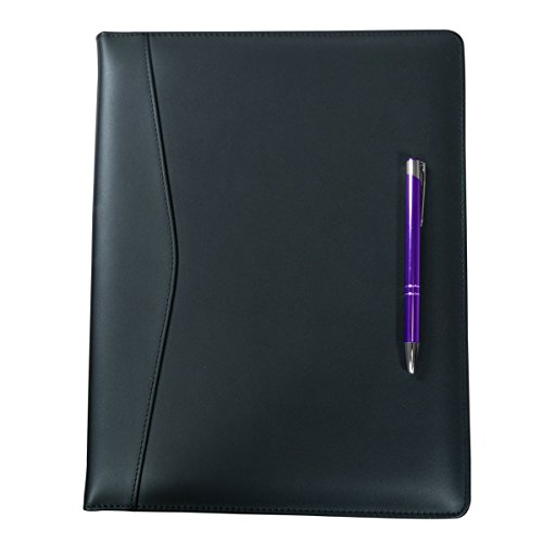 Dacasso Leather Deluxe Letter-Size Zip-Around Portfolio, Black (E1002)