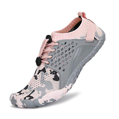 SAJOMCE Mens Womens Trail Running Shoes Minimalist Walking Barefoot Shoes Cross Trainers Hiking Shoes Wide Toe Box Pink/Grey (Best Minimalist Gym Shoes)