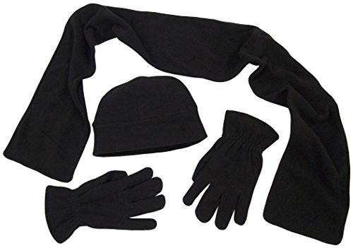 (N'Ice Caps Adults Unisex 2 Ply Micro Fleece Beanie/Scarf/Gloves Set (One Size, Black with Touchscreen))