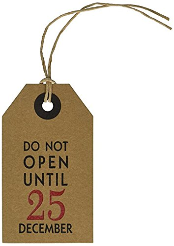 50 Pack - CleverDelights Christmas Gift Tags - Do Not Open Until December 25 - Kraft Paper Hang Tags - Vintage Present, Gift Wrap, and Wine Bottle Decorative Holiday Tags