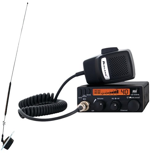 Midland 1001LWX Full Featured CB Radio with Weather Scan Technology and 18-258 Window-Mount CB Antenna by None