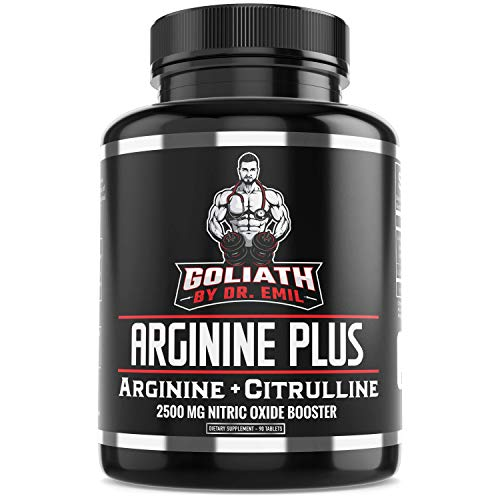 Dr. Emil's ARGININE Plus - L Arginine + L Citrulline - 2500 MG High Dose NO Booster Tablets - Nitric Oxide Supplement for Vascularity, Muscle Growth & Heart Health (Arginine AKG, HCL & Citrulline)