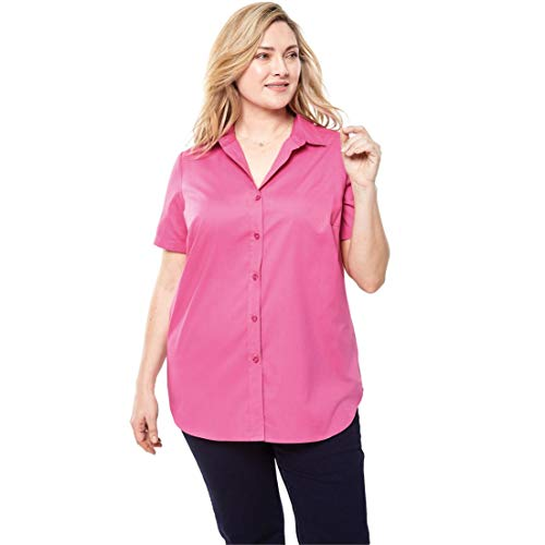 Woman Within Plus Size Perfect Short Sleeve Button Down Shirt - Vintage Rose, ()