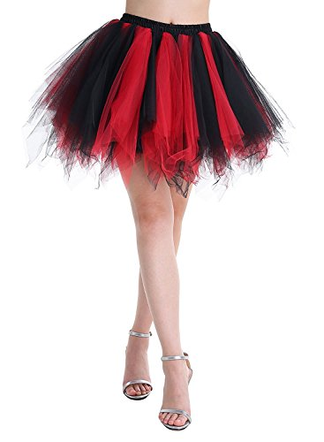 BIFINI Adult Women 80's Tutu Skirt Layered Tulle Petticoat Halloween Tutu Black/Red]()