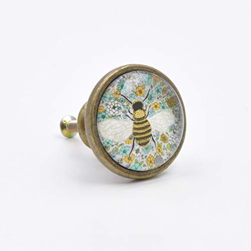 Knob Bee (Vintage Bee Print Knob, Pull, Handle, for Cupboards, Doors, Cabinets, Drawers, Furniture & Kitchens (Includes Hardware) 3.37 cm Diameter 1.75 cm Rod Length)