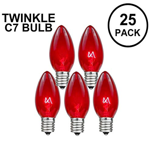 Novelty Lights 25 Pack C7 Twinkle Outdoor Christmas Replacement Bulbs, Red, C7/E12 Candelabra Base, 7 Watt