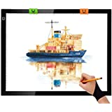 JHFart A3 Light Table 5D Diamond Painting Light Box Ultra Thin Led Drawing Board Xray Artcraft Tattoo Watercolour Copy Quilting Tracing Pad with Clips Artist Glove and Certified USB Adapter