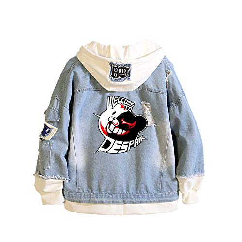 Gumstyle Danganronpa Monokuma Anime Denim Hoodie Jacket Adult Cosplay Button Down Jeans Coat 3 L (Anime Jeans Men)