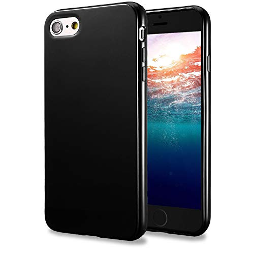 (TENOC Case Compatible for Apple iPhone 6 Plus and iPhone 6S Plus 5.5 Inch, Slim Fit Soft TPU Cover Glossy Finish Coating Full Protective Bumper Black)