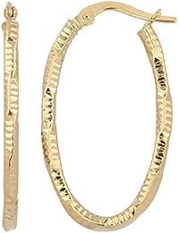 14k Yellow Gold 2 mm Diamond-cut Oval Hoop Earrings