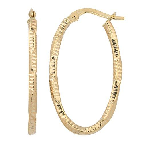 (14k Yellow Gold 2mm Diamond-Cut Oval Hoop Earrings)