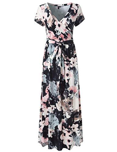 (SEBOWEL Women's Casual Floral Print Wrap Waist Bow Belt A-line Long Maxi Dress Black White-L)