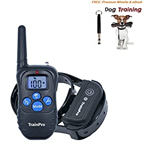 TrainPro PRO998 330-Yard Rechargeable Waterproof Electronic Collar for One Dog with eBook and Whistle, 3.0 Version, Black and Blue