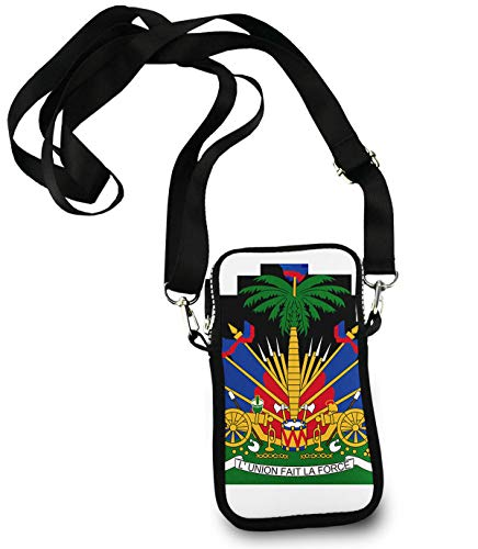 Fashion Girls Women Shoulder Crossbody Bag Coin Change Purse Cell Phone Wallet Cute Travel Small Pouch (Coat of Arms of Haiti)