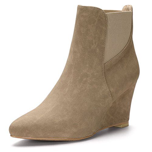 Allegra K Women's Pointed Toe Elastic Wedge Ankle Boots Brown 4 UK