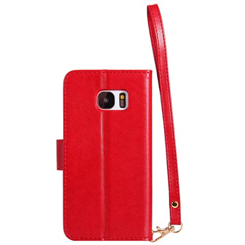Samsung Galaxy S7 Funda, CaseFirst Flip Billetera Cover Protección Soporte Anti-arañazos Protector a prueba de golpes Shell con función de soporte y ranuras (Oro Rosa) Rojo