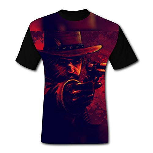 Mor-gan Gun Red Dead Rede-mption 2 Men's T-Shirt 3D Printed Graphic T Shirt Crew Tees Blouse for Men (Red Dead Redemption Best Pistol)