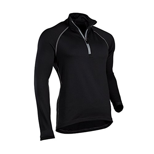 - ColdPruf Men's Quest Performance Base Layer 1/4 Zip Mock Neck Top, Black, XX-Large