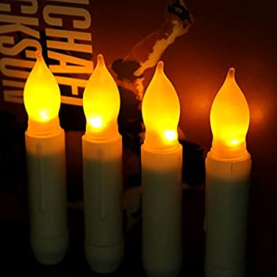 Youngerbaby Yellow Mini Battery Operated Wax Dipped LED Taper Candles, Flameless Taper Candles -Batteries Not Included