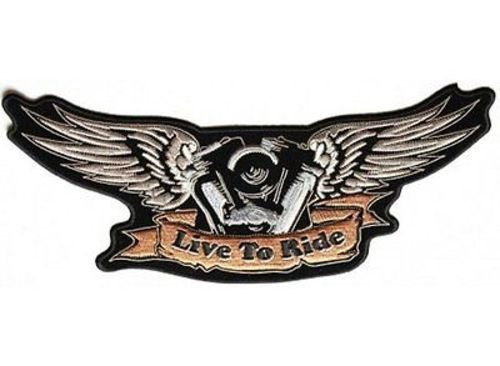 LIVE TO RIDE WINGS Motor V-TWIN Engine MC Club Biker Vest Back Patch LRG-0548