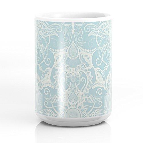 Society6 Floral Pattern In Duck Egg Blue & Cream Mug 15 oz