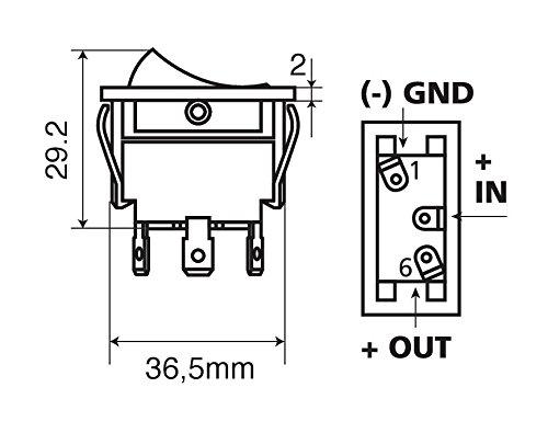 Interruptor con luz 12/V 20/A