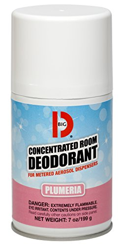 Big D 475 Concentrated Room Deodorant for Metered Aerosol Dispensers, Plumeria Fragrance, 7 oz (Pack of 12) - Air freshener ideal for restrooms, offices, schools, restaurants, hotels, stores