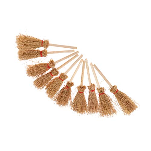 - Fenteer 1/12 Dolls House Miniature Bamboo Broom Model Household Cleaning Tools for Fairy Garden Life Scene Decoration Set of 10 Pieces