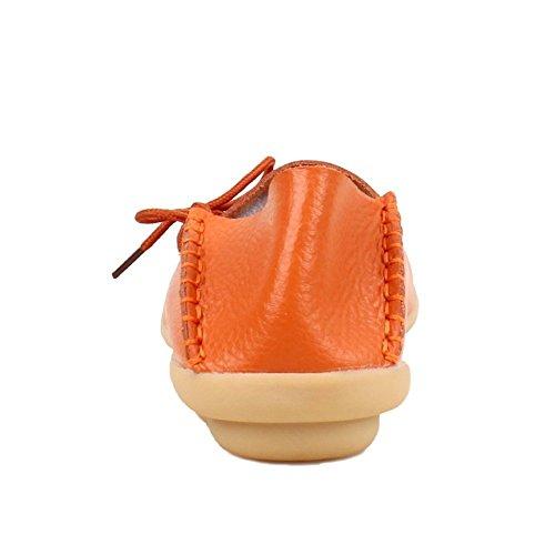 Mocassini Da Donna Marroni Scarpe Da Guida Pelle Bovina Casual Mocassini Con Lacci Mocassini Slip-on Scarpe Arancione