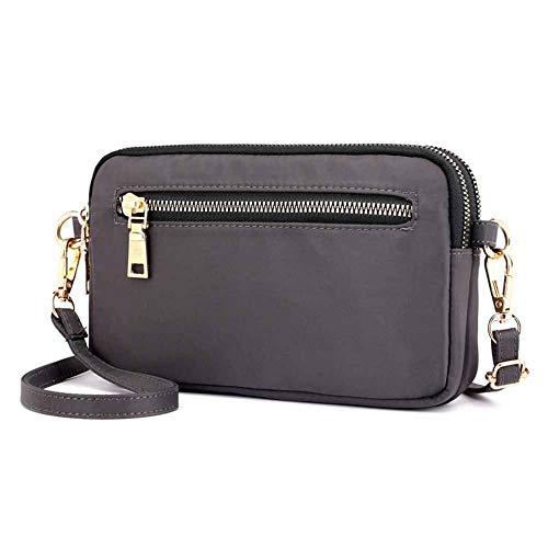 GEEAD Small Shoulder Bags for Women Waterproof Nylon Crossbody Bag Purse Zipper (Grey)