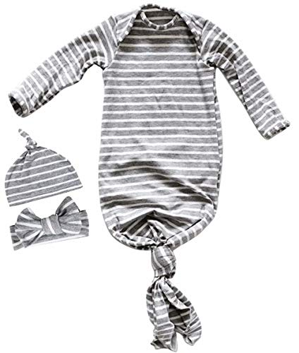 EGELEXY 3Pcs/Set Newborn Baby Sleepy Striped Gown Swaddle Wrap Knotted Sleepwear Cotton Sleeping Bags Size 0-6 Months/70 (Gray) ()