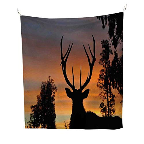 Antlers Decor Wall Tapestry Black Deer Red Sky Colorful Tapestry 57W x 74L INCHBackground West Coast