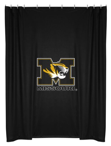 Missouri Tigers COMBO Shower Curtain, 4 Pc Towel Set & 1 Window Valance/Drape Set (84 inch Drape Length) - Decorate your Bathroom & SAVE ON BUNDLING! by Sports Coverage