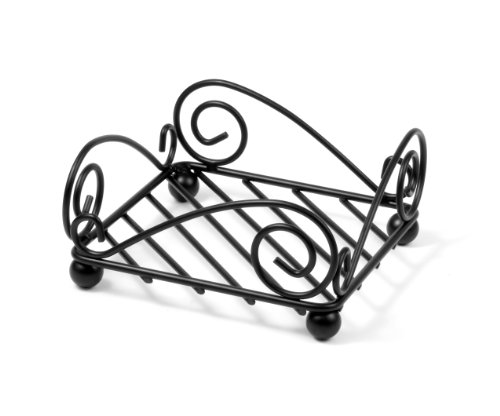 Wrought Iron Napkin Holder - Spectrum Diversified Scroll Flat Napkin Holder, Black