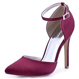 ElegantPark Pointed Toe Heels for Women Ankle Strap Wedding Bridal Shoes D'Orsay High Heel Pumps Satin Evening Party…