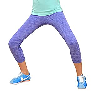 No.66 Town Women's Quik Dry Tights Yoga Running Workout Capri Leggings Pants M Blue
