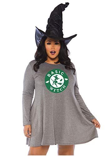 Leg Avenue Women's Plus Size Basic Witch Halloween Dress, Grey 3X-4X ()