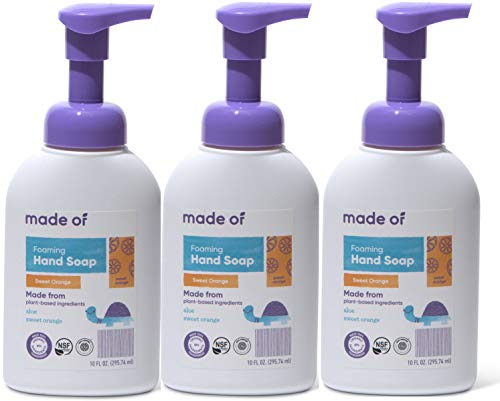 Organic Hand Soap by MADE OF – Dermatologist and Pediatrician Tested – NSF Organic and EWG Verified – for Sensitive Skin and Eczema – Made in USA – 10oz (Sweet Orange, 3-Pack)