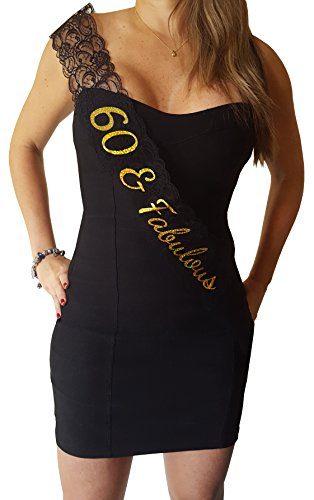 60 & Fabulous Lace Sash - 60th Birthday Sash ()