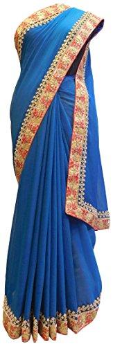 gner Chiffon Hand Embroidery Saree Sari Free Size Blue (Hand Embroidery Sarees)