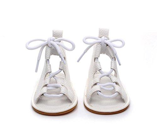 Leder Bandage Cross-gebundene Sandalen - Casual weiche Sohle - Krippe Hollow prewalker - Sommer Anti-Rutsch-Schuhe flache Schuhe Weiß