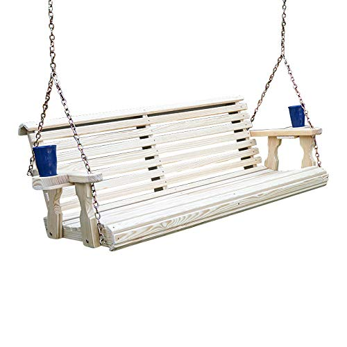 Amish Heavy Duty 800 Lb Roll Back Treated Porch Swing with Hanging Chains and Cupholders (5 Foot, -