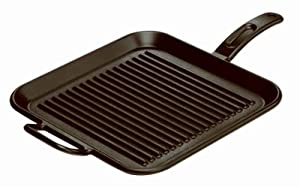 Lodge Mfg P12SGR3 12 Inch Square Seasoned Cast Iron Grill Pan with assist handle